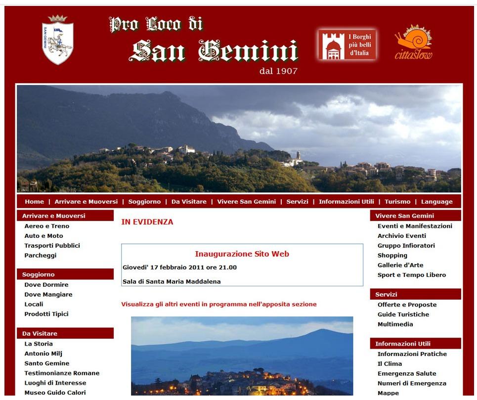 realizzazione sito web pro loco sangemini 2010 www.prosangemini.it